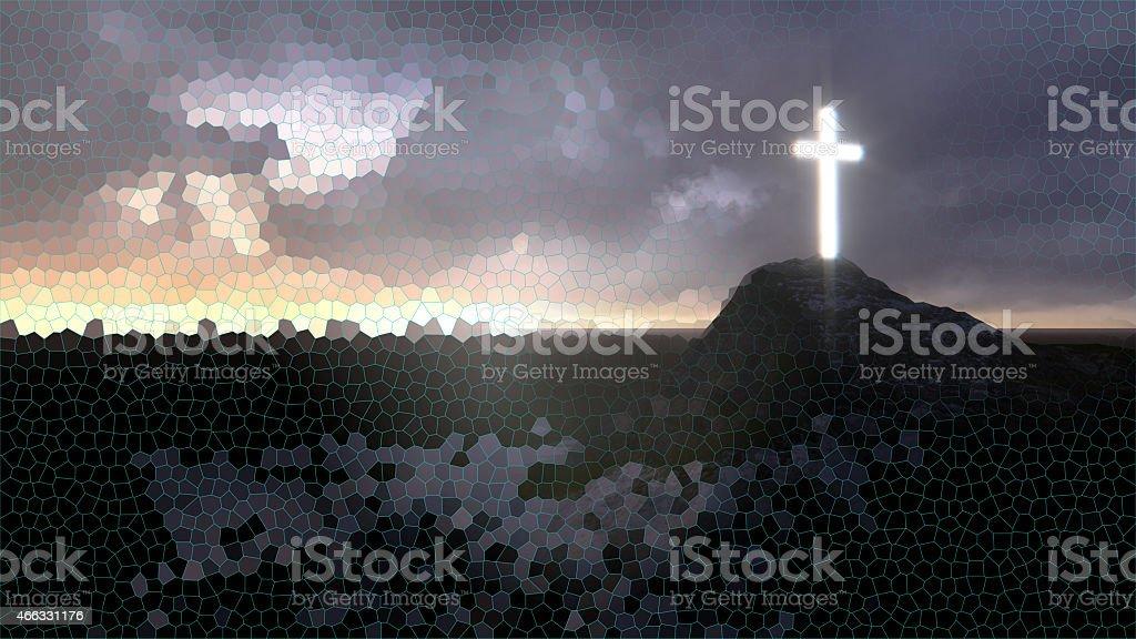 glowing wooden cross stock photo