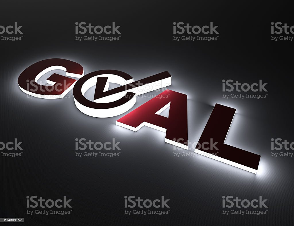 Glowing word goal with checkmark concept stock photo