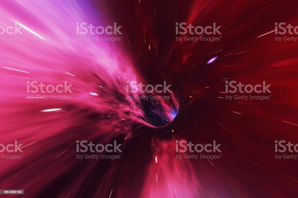 Glowing wormhole in space, interstellar warp, traveling trough space and time. 3d rendering stock photo
