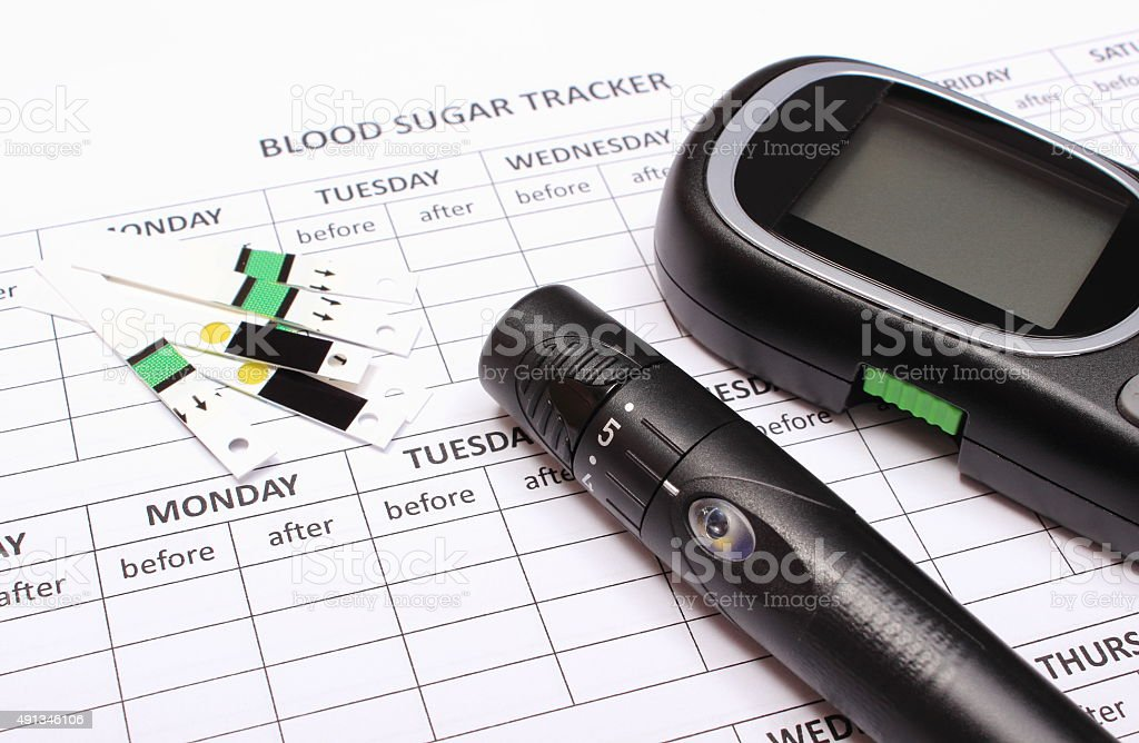 Glucometer and accessories on empty medical forms for diabetes stock photo