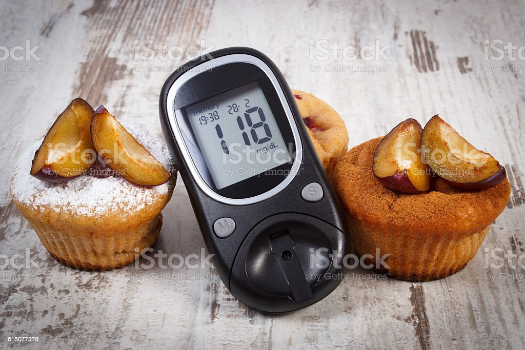 Glucometer, muffins with plums powdered sugar and cinnamon, diabetes stock photo