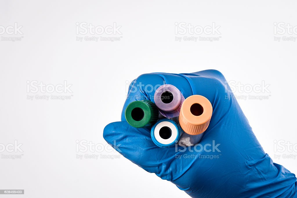 glucose blood collection tube,held by hand stock photo