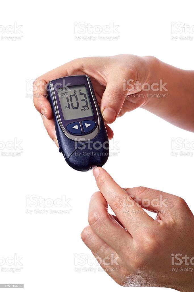 Glucose level blood test isolated stock photo