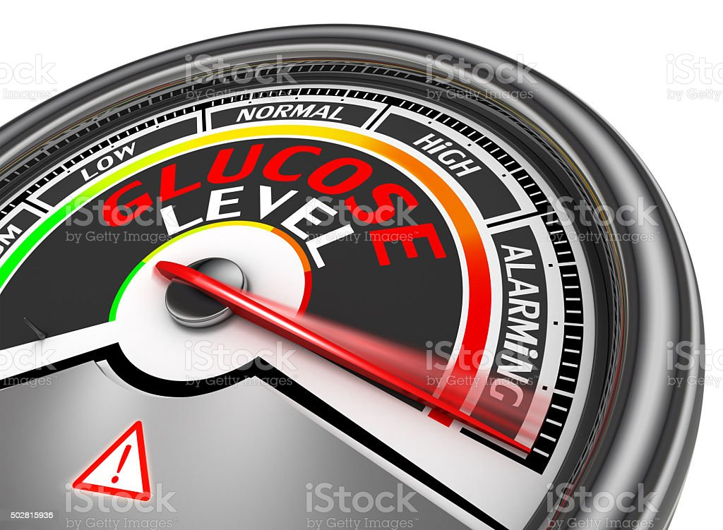 Glucose level conceptual meter stock photo
