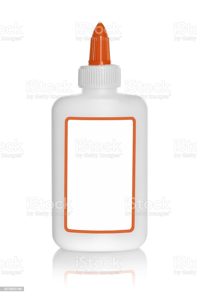Glue Bottle with blank label stock photo