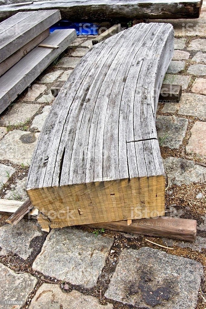 Glued Ship Timber stock photo
