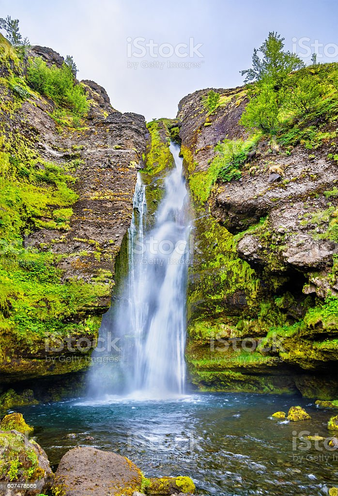 Gluggafoss or Merkjarfoss, a waterfall in southern Iceland stock photo