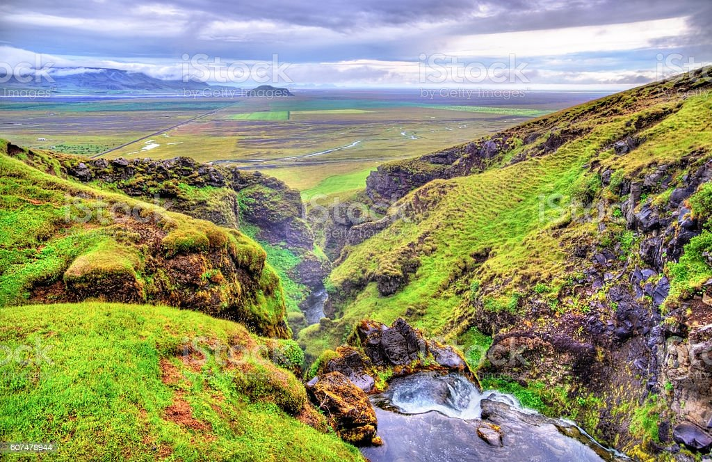 Gluggafoss or Merkjarfoss, a waterfall in southern Iceland stock photo