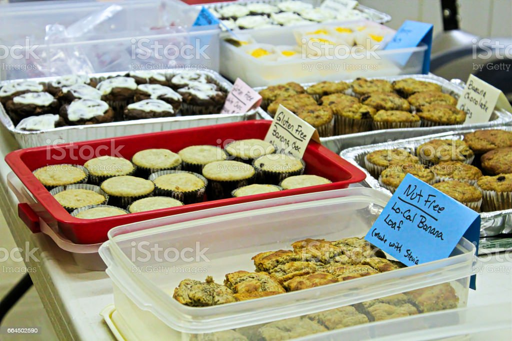 Gluten and nut free items at a bake sale stock photo