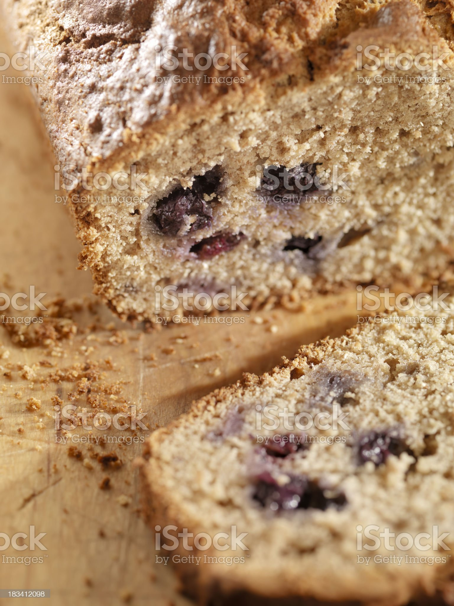 Gluten free Banana Bread with Blueberries royalty-free stock photo