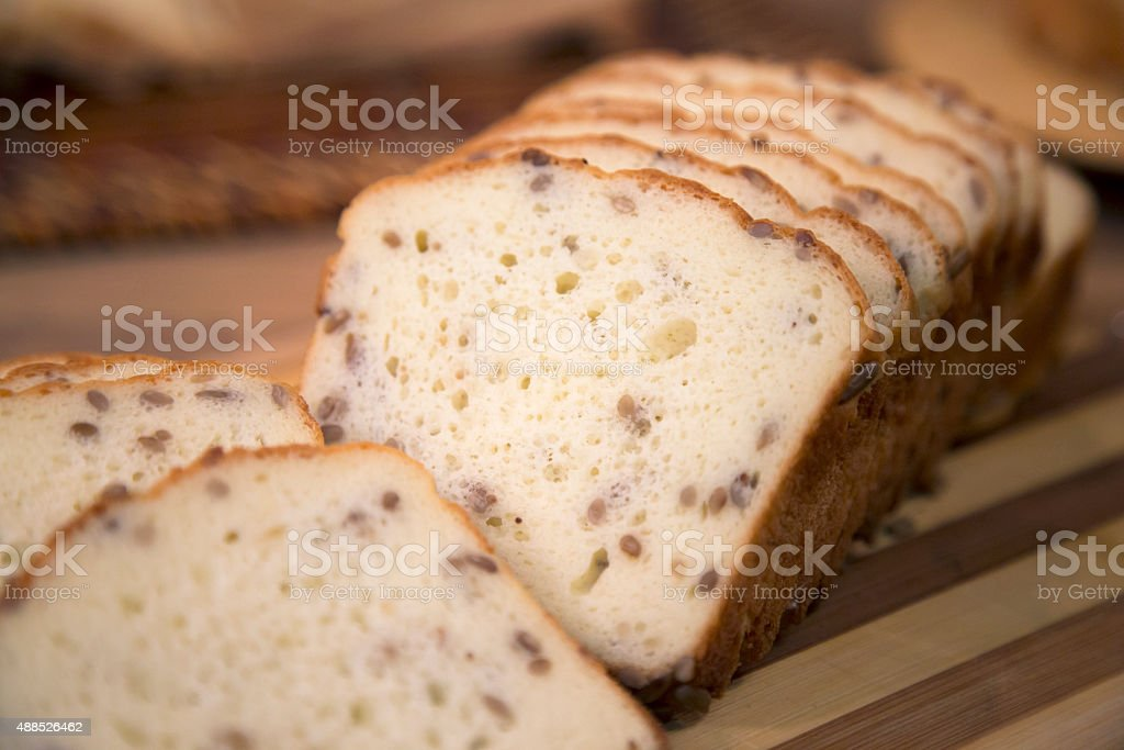 Gluten free bread with flax seeds. stock photo