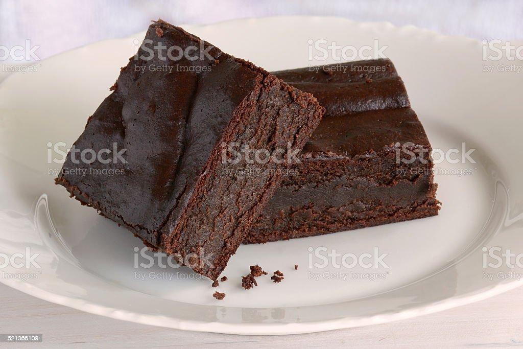 Gluten free chocolate brownies stock photo