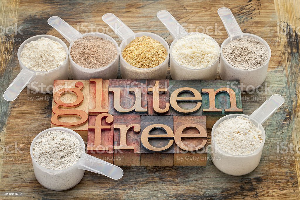 gluten free flours and typography stock photo