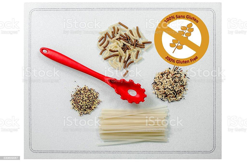 Gluten Free food (bilingual - French) stock photo