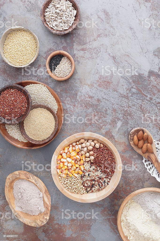Gluten free grains and flours stock photo
