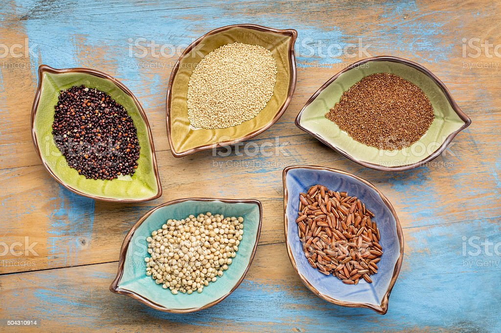 gluten free grains bowl abstract stock photo
