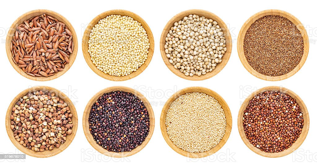 gluten free grains collection stock photo