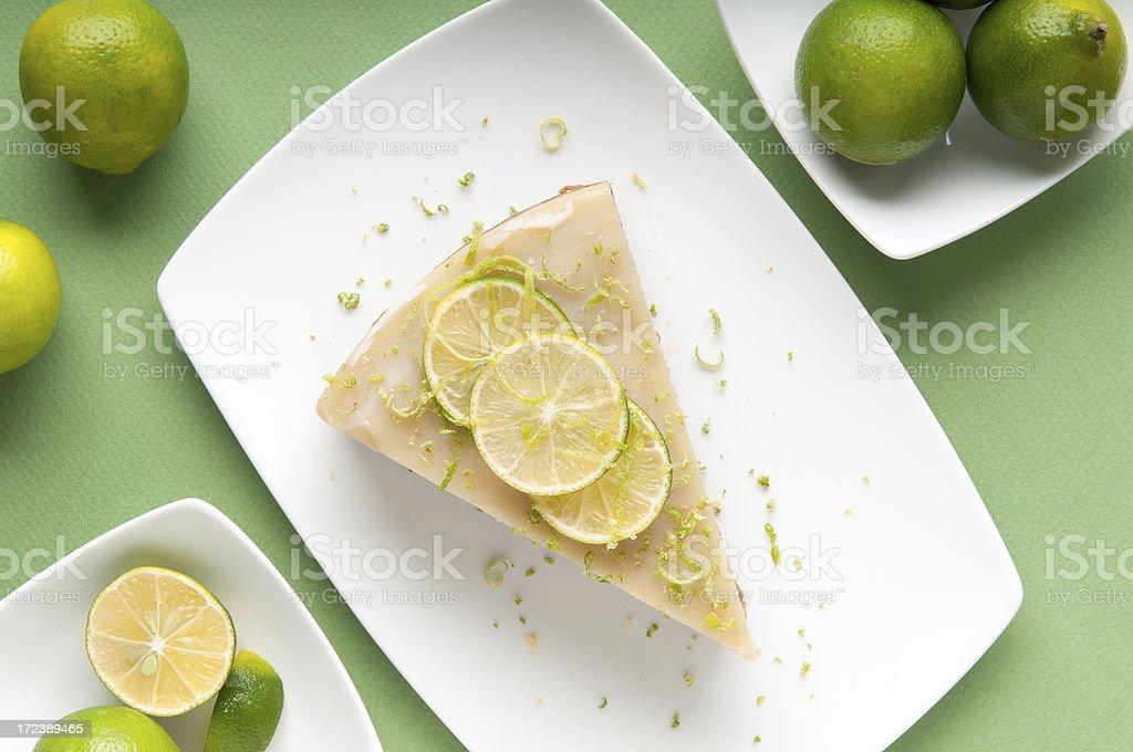 Gluten Free Key Lime Pie on Green Background stock photo