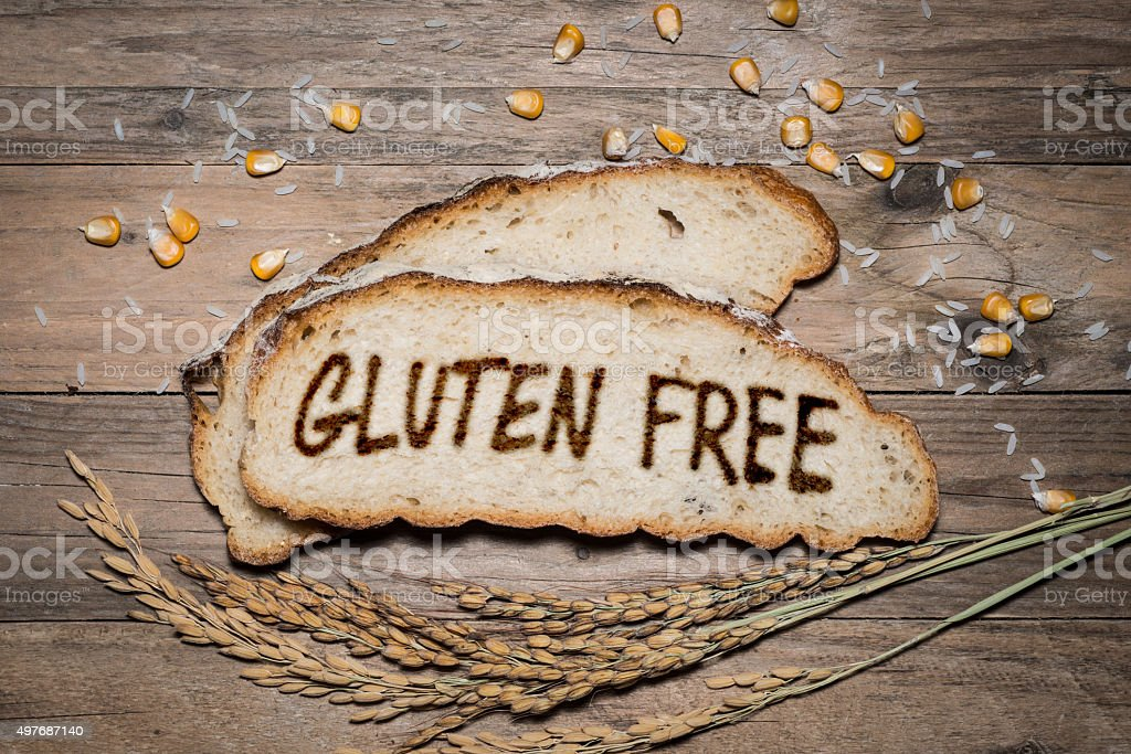 Gluten free logo grilled on bread stock photo