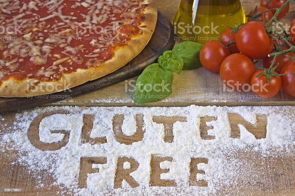 gluten free pizza on background stock photo