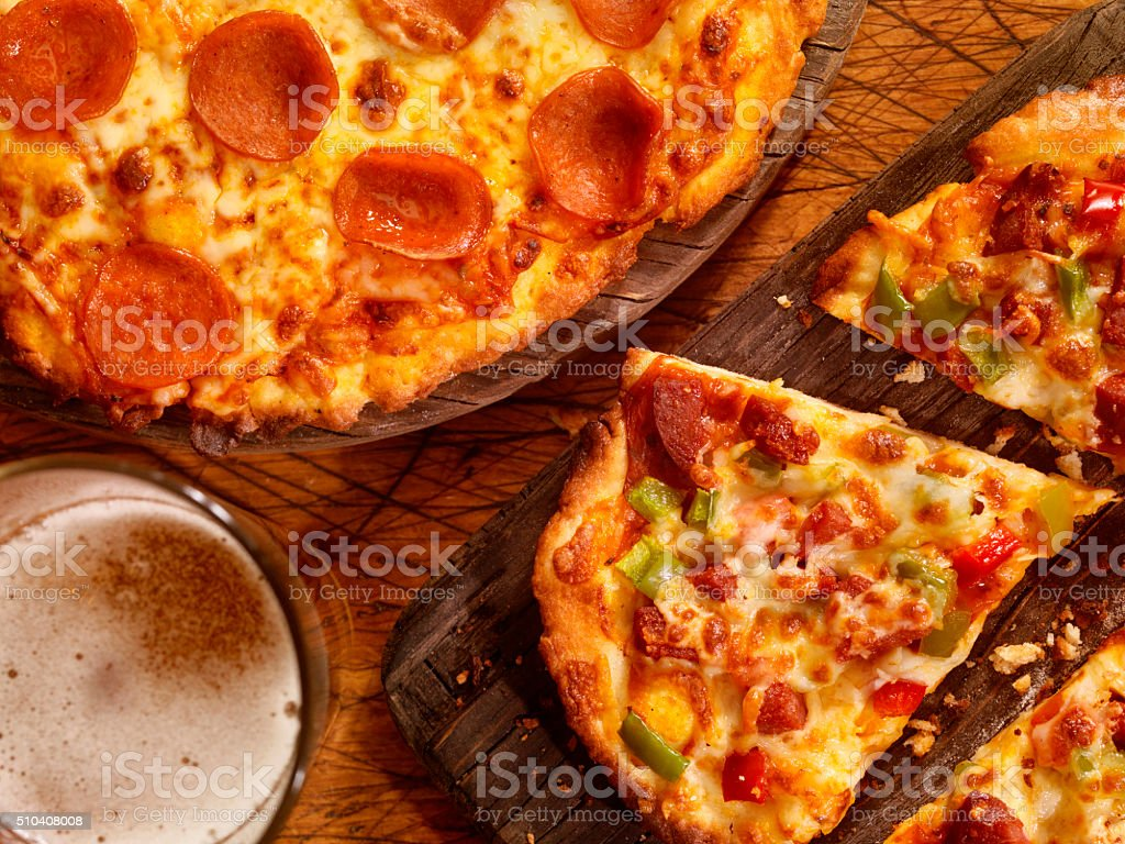 Gluten Free Pizzas with Glue Free Beer stock photo