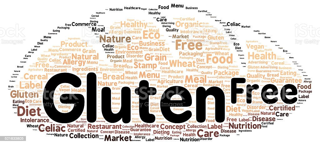 Gluten free word cloud shape stock photo