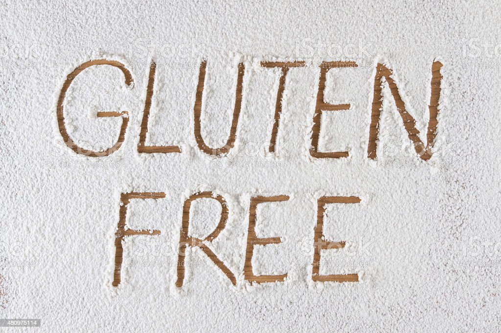 Gluten Free Words in Flour stock photo