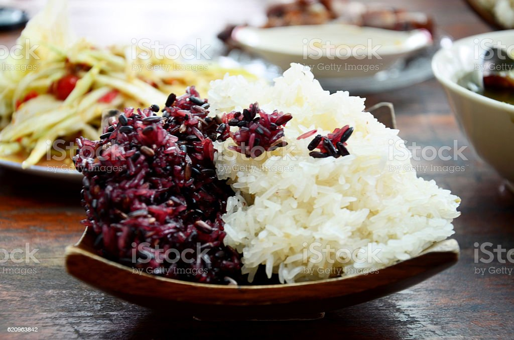 Glutinous rice and black sticky rice for eat stock photo