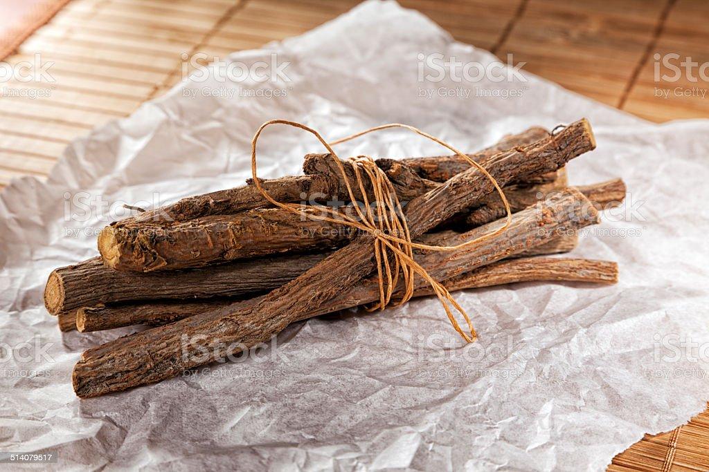 Glycyrrhiza glabra -  liquorice roots stock photo
