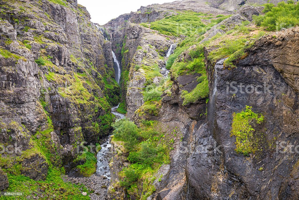 Glymur waterfall during summer in Iceland stock photo