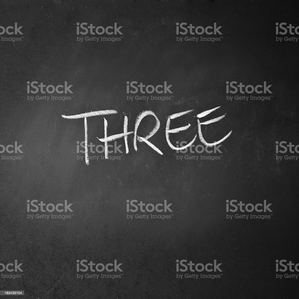 Glyph Of The Number THREE Written On A Blackboard royalty-free stock photo