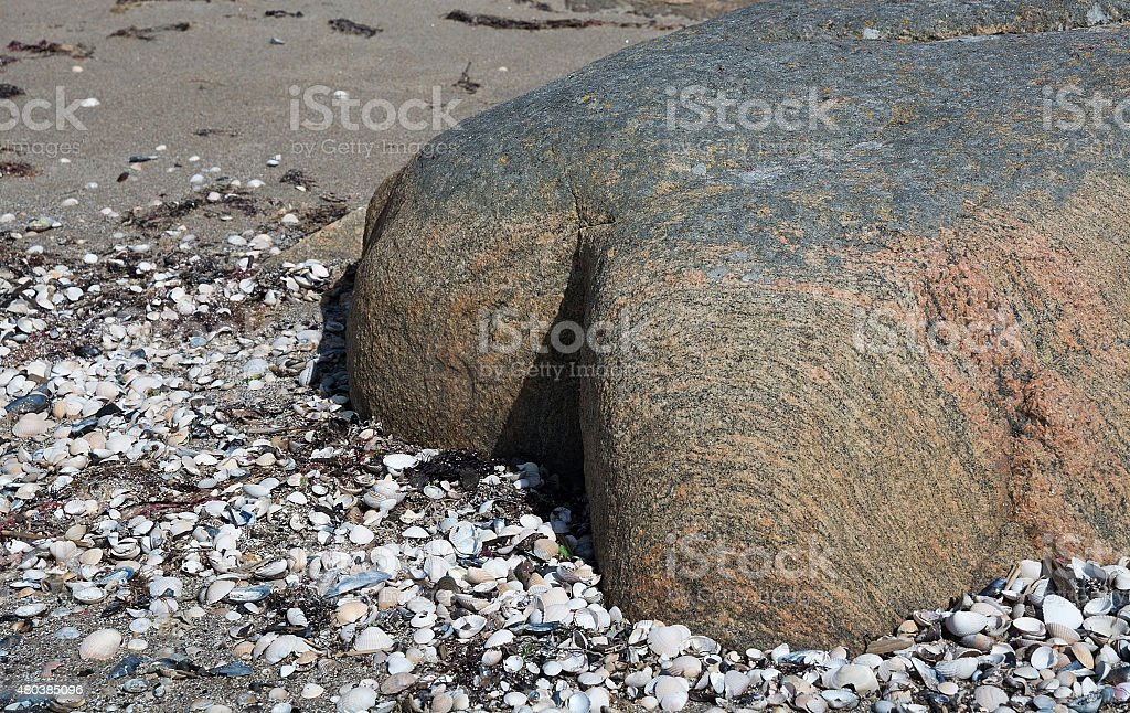 Gneiss rock shaped into human bodypart stock photo