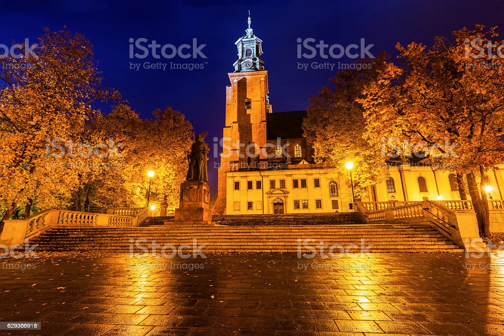 Gniezno Cathedral at sunset stock photo