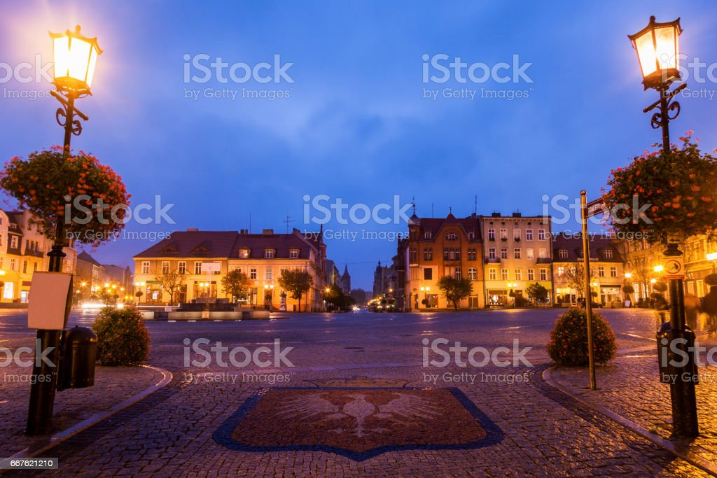 Gniezno Main Square at night stock photo