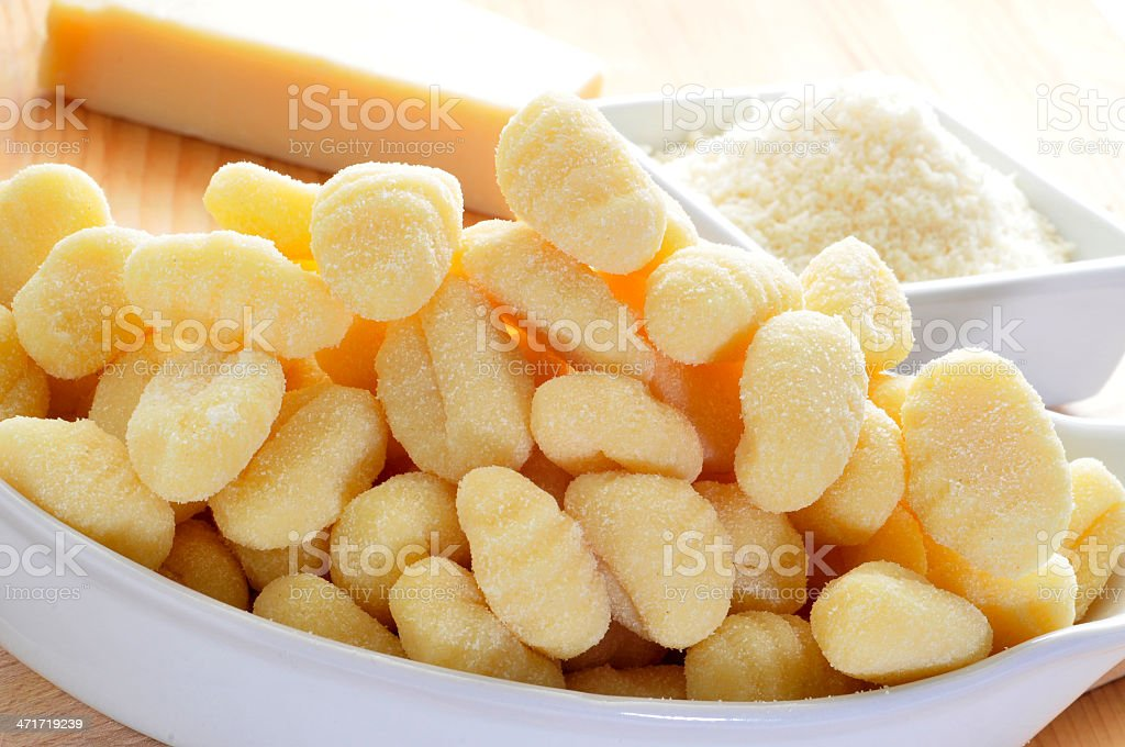gnocchi and parmesan cheese royalty-free stock photo