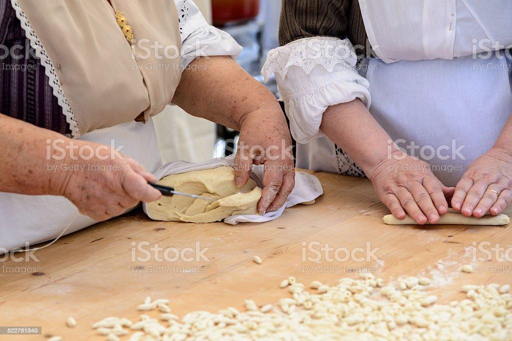 Gnocchi pasta of Sardinia stock photo