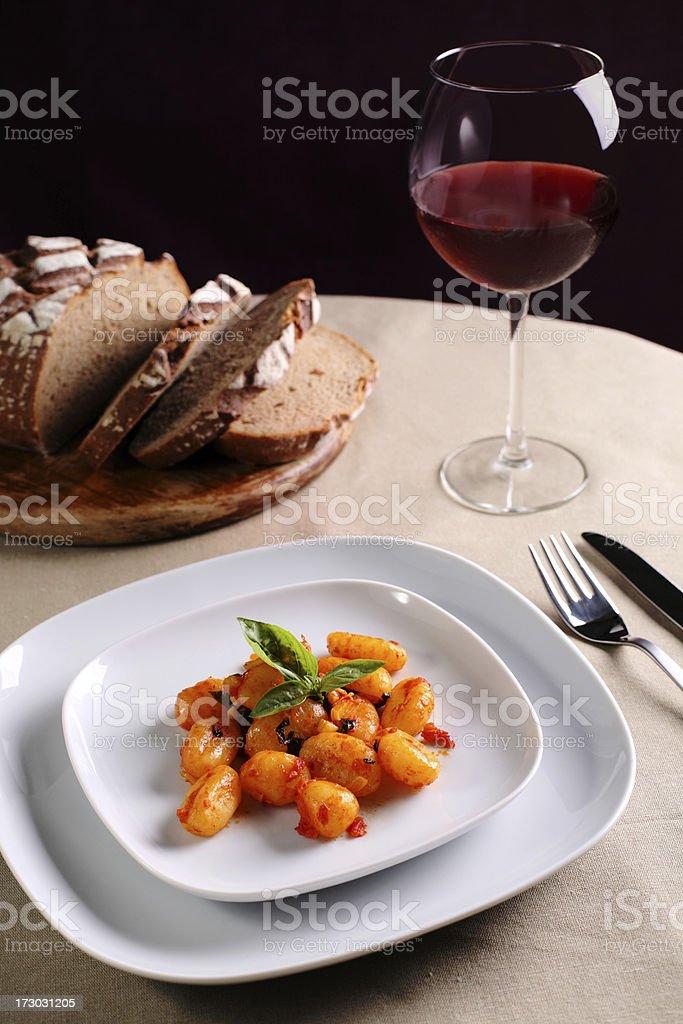 gnocchi & wine royalty-free stock photo