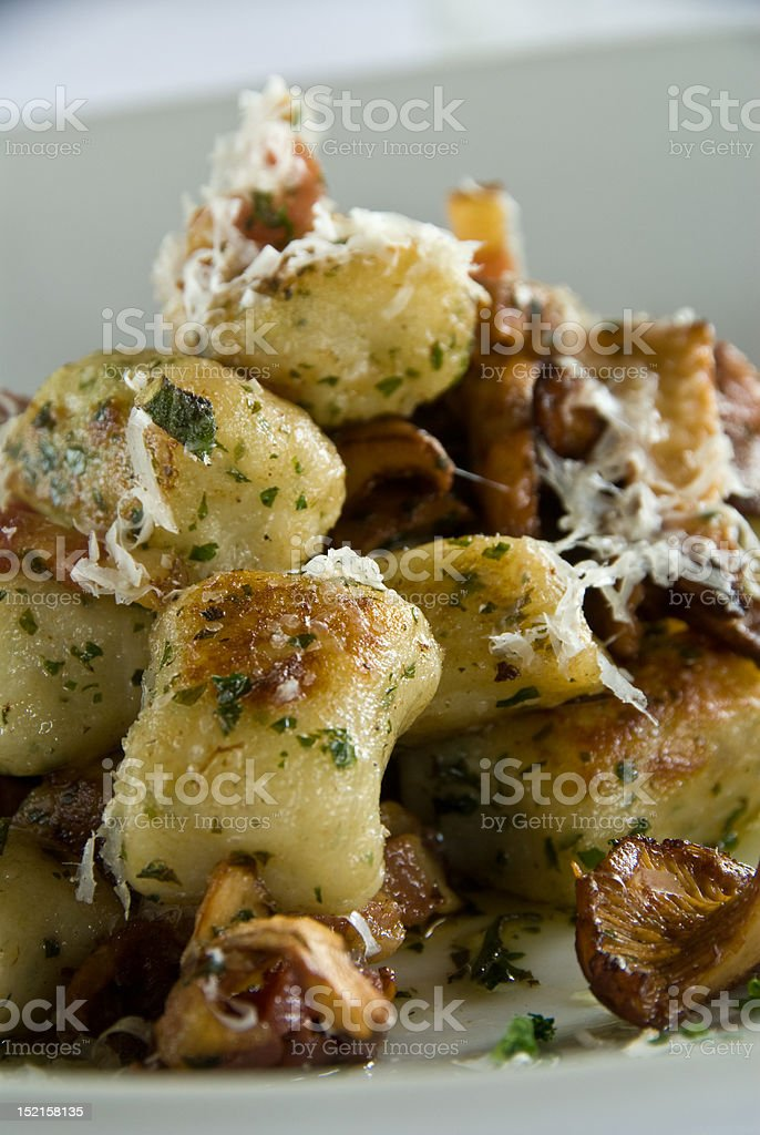 Gnocchi with mushrooms royalty-free stock photo