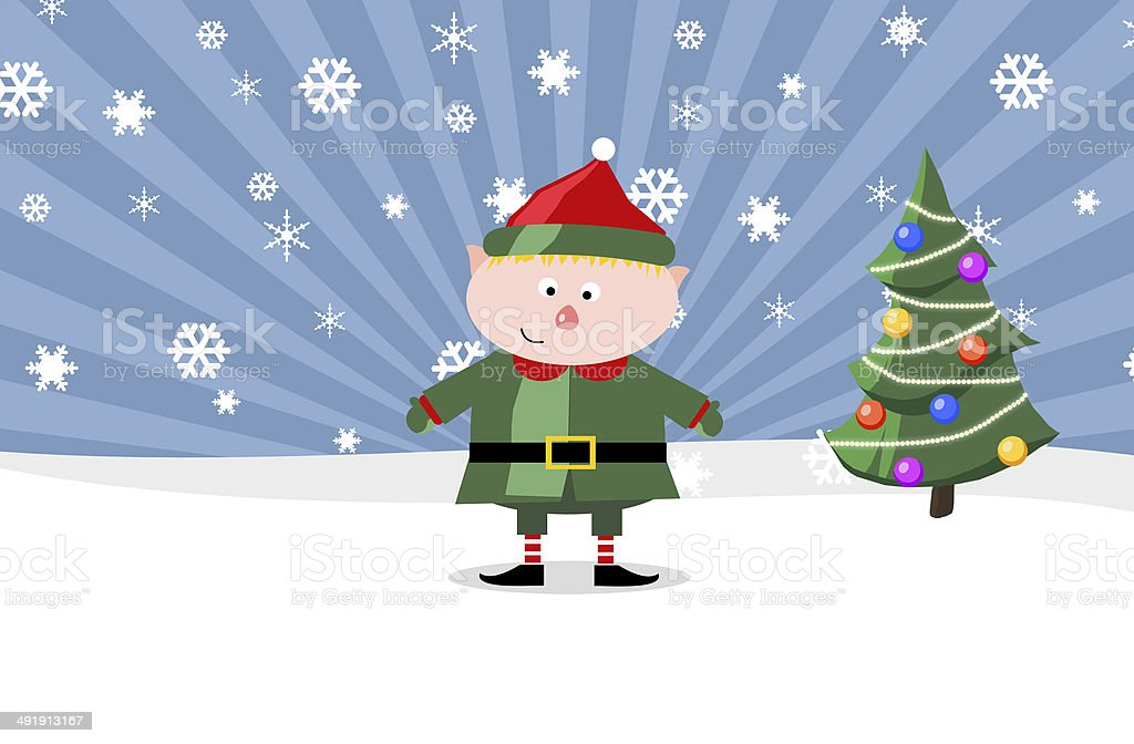 Gnom with a Christmass tree royalty-free stock photo