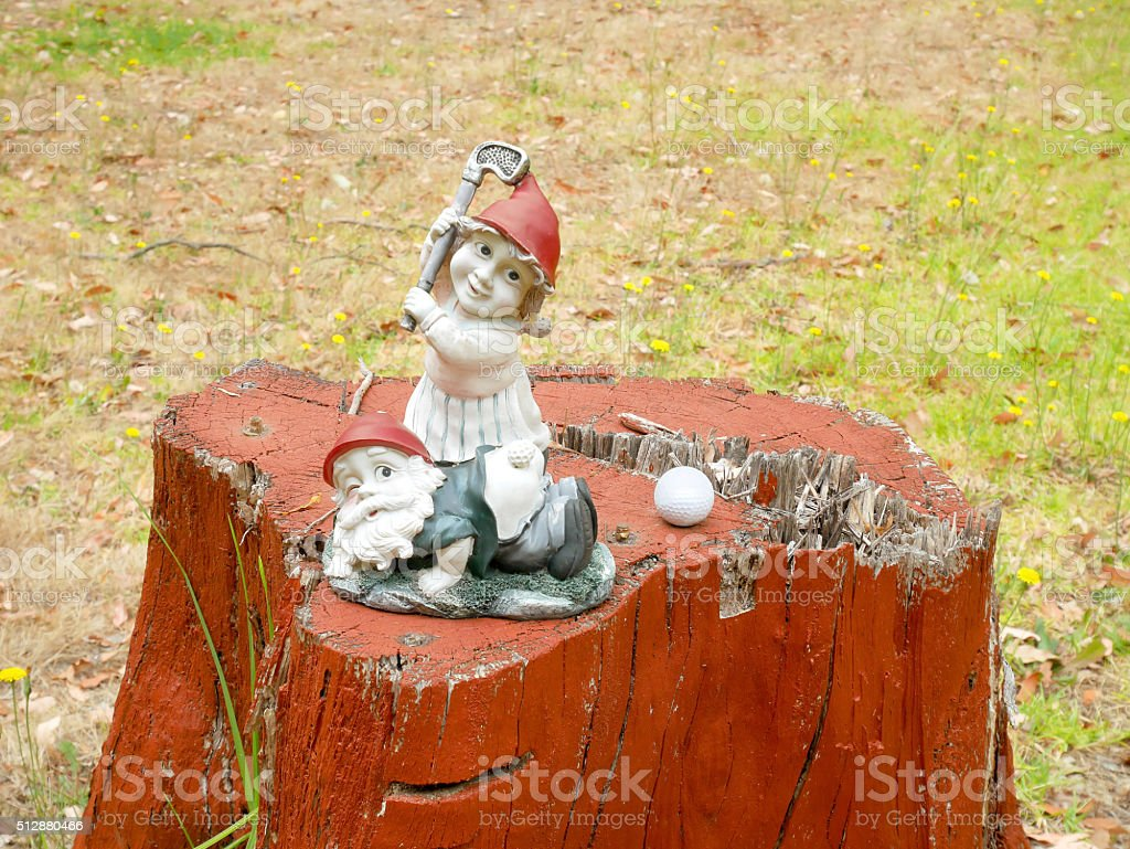 Gnomes playing golf on a stump stock photo