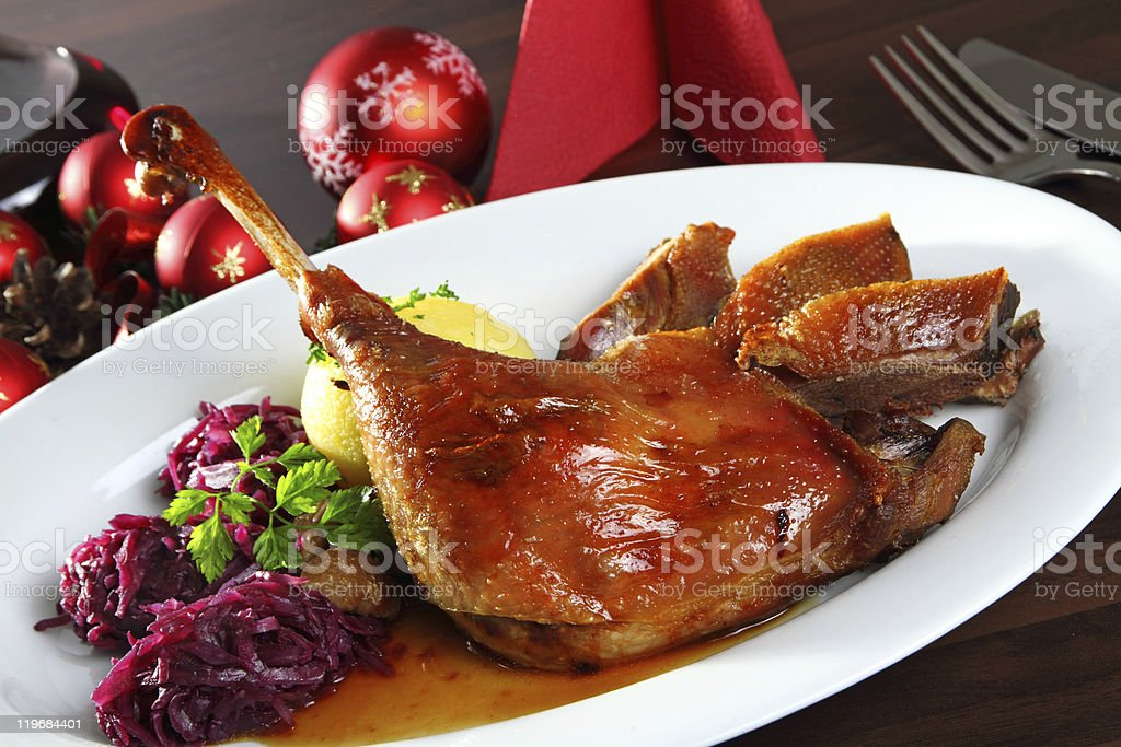 Gänsekeule/Roast Goose stock photo