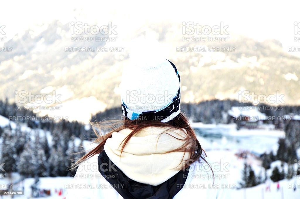 Go ahead and go ski stock photo