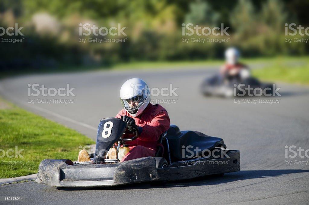 Go Cart Racing on Track stock photo
