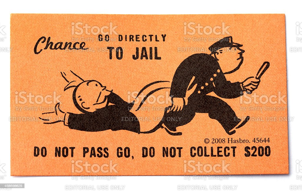Go Directly to Jail Chance Card stock photo
