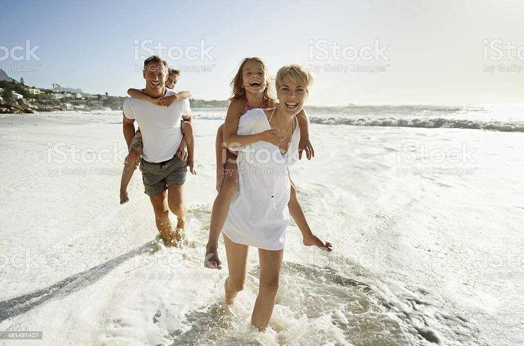Go faster mom, we're beating them! stock photo
