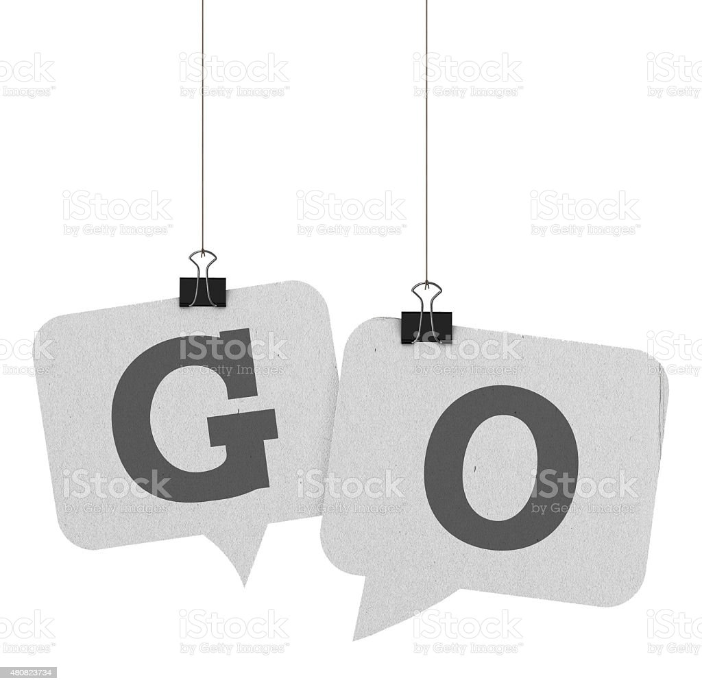 Go speech bubble word stock photo