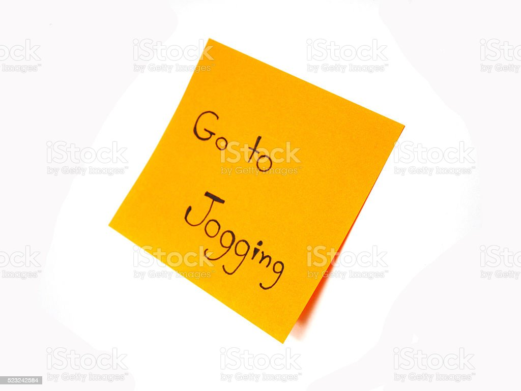 'Go to jogging' reminder stock photo