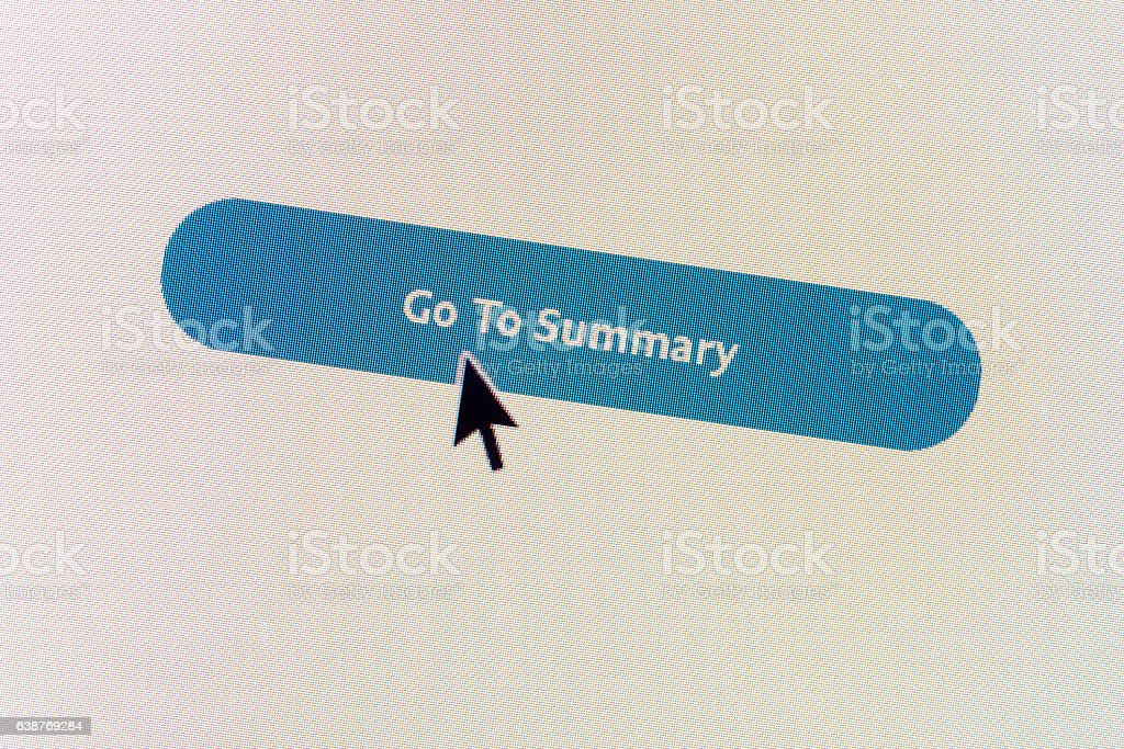 'Go To Summary' computer monitor button stock photo