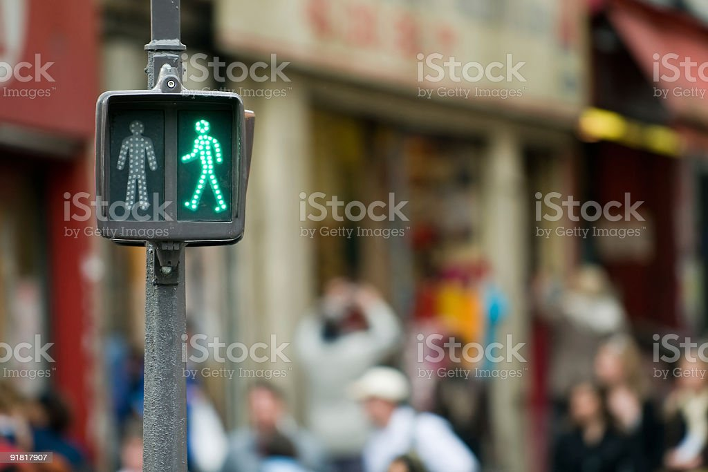 Go to the other side - Green pedestrian Light stock photo