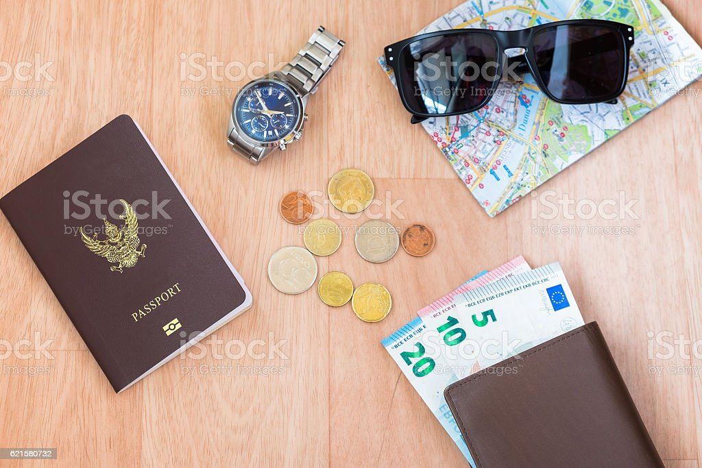 Go to travel! The Map , Passport , Money and Sunglass stock photo